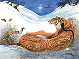 <em>Reading by Tiger-light</em> &copy; Jackie Morris