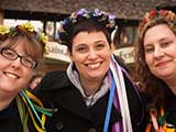 Development Director Debbie Brown, and volunteers Tina Worley and Marianne Luskey get into the spirit of the festival.